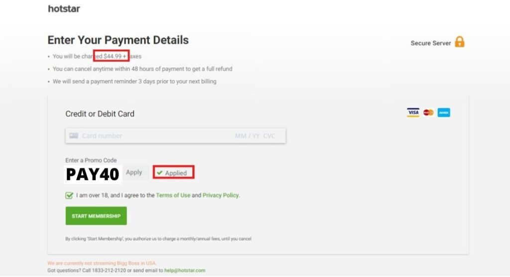 Hotstar Payment process. $5 Discount with promo code PAY40